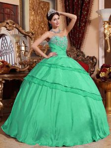Turquoise Sweetheart Floor-length Dress For Quince with Appliques in Geneva