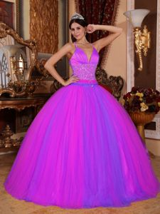 Magenta V-neck Princess Dress For Quince with Beading and Criss-cross Back