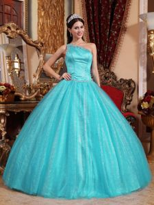 Blue One Shoulder Floor-length Dresses For Quinceanera with Lace Up Back