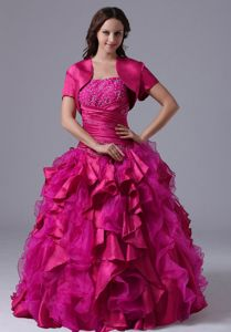 Fuchsia Ruffled and Beaded Strapless Floor-length Quince Dresses in Granger