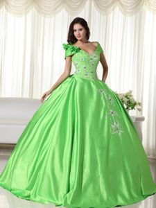 Off the Shoulder Floor-length Sweet Sixteen Dresses with Appliques in Hudson