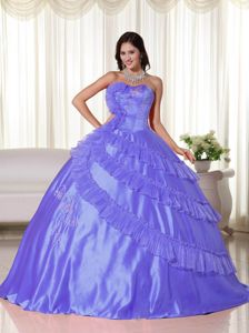 Chic Strapless Floor-length Taffeta Dresses For Quince in Purple with Ruffles