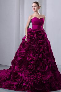 Fuchsia A-Line Sweetheart Brush Train Dresses For Quinceanera with Ruffles