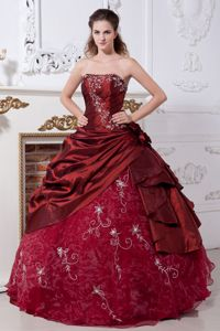 New Wine Red Strapless Floor-length Dress For Quinceanera with Embroidery