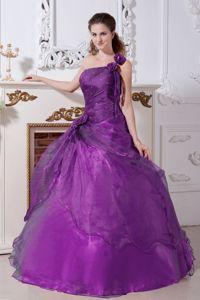 Purple One Shoulder Princess Quinceanera Gowns with Flower in Davenport