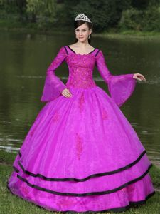 Cheap Long Sleeves Quinceanera Dresses in Hot Pink with Beading in Eldora
