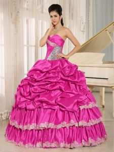 Sweetheart Princess Hot Pink Quinceanera Dresses with Pick-ups in Dyersville