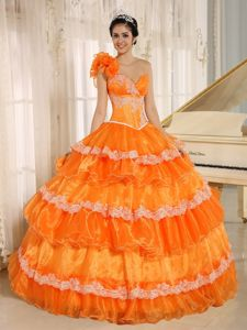 Orange One Shoulder Floor-length Quinceanera Gown Dresses with Appliques