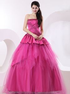 A-line Beaded Hot Pink Sweet Sixteen Quinceanera Dress for a Cheap Price