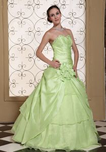 Discount Yellow Green Quinceaneras Dress with Flower in Warnes Bolivia