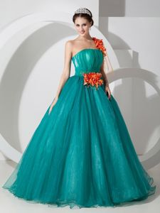 Cheap One Shoulder Teal A-line Sweet 16 Dresses with Orange Red Flowers