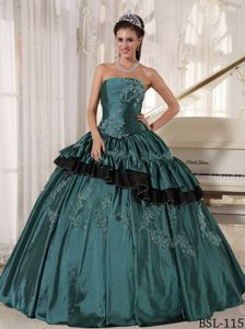 Dreamy Strapless Appliqued Turquoise Quinceaneras Dress in Birmingham