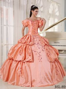 Cinderella Off The Shoulder Orange Red Quince Dresses with Embroidery