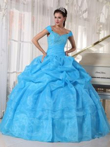 Customized Off The Shoulder Blue Quinceanera Gown Dresses with Pick-ups