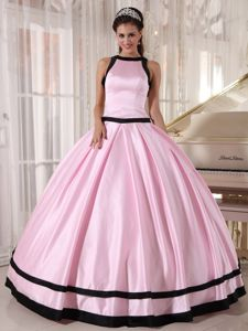 New Baby Pink Sweet 16 Dresses with Black Hemline in Cotoca Bolivia
