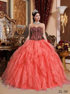 Newest Ruffled Watermelon Red and Black Dress for Quince Patterns
