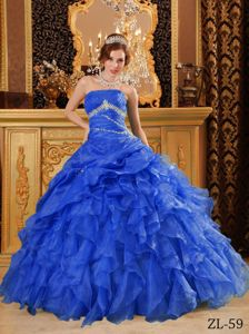Unique Ruffled Beaded Blue Ball Gown Quinceanera Dress for a Cheap Price