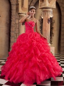 New Arrival Beaded Ruffled Coral Red Quinceanera Dresses Store