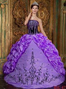 Custom Made Black and Purple Sweet 16 Dresses with Pick-ups and Embroidery
