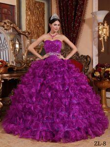 Light Purple Beaded Ruffled Quinceanera Gowns in San Borja Bolivia
