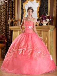 Noble Appliqued Watermelon Quince Dresses with Bow for a Cheap Price