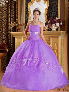 Wonderful Lavender Appliqued Sweet 16 Dresses with Bowknots on Sale