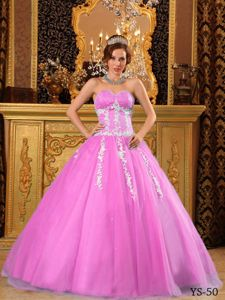 Cheap Appliqued Pink Ball Gown Dress for Quinceanera under 200