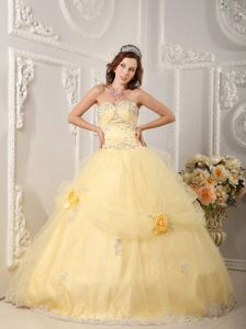 Exquisite Light Yellow Quinces Dresses with Appliques and Flowers Online