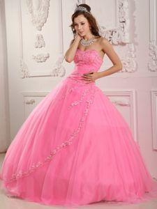 Most Popular Designer Appliqued Rose Pink Dress for Quince under 200