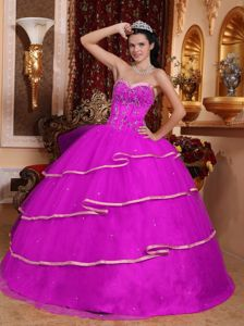 Newest Fuchsia Ball Gown Sweet 15 Dresses with Beading under 200