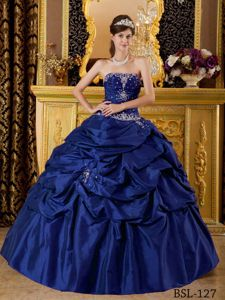 Wonderful Dark Blue Appliqued Quinceanera Gown with Pick-ups Online