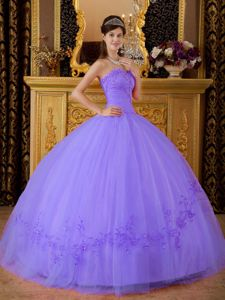 Brand New Tulle Sweetheart Appliqued Quinceanera Gown in Light Purple