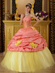 Hot Sale Yellow and Watermelon Sweet 16 Dresses with Pick-ups and Flowers