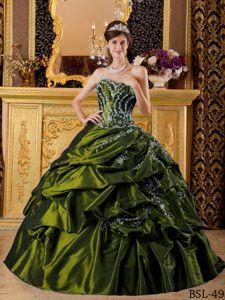 Appliqued Olive Green Quince Dresses with Pick-ups in El Carmen Bolivia