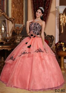 New Watermelon and Black Sweet 15 Dress with Flowers and Embroidery