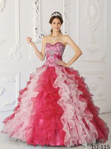 Plus Size Zebra Print White and Red Ruffled Quinceanera Gown on Sale