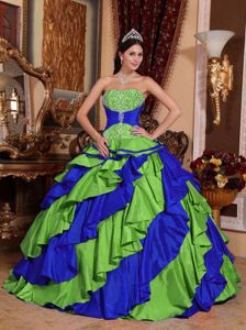 Multi-colored and Red Strapless Taffeta Dress for Quince with Embroidery in Seattle