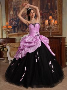 Sweetheart Hand Flowery Quinceanera Gown Dress in Pink and Black in Pullman