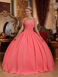 Watermelon V-neck Floor-length Chiffon Beaded Quinceanera Dress in Issaquah