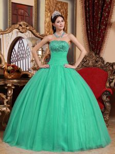 Strapless Embroidered Turquoise Sweet 15 Dresses with Beading in Bellevue