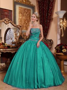 Strapless Taffeta and Tulle Appliqued Quinceanera Dress Turquoise in Lubbock