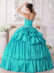 Turquoise Sweetheart Taffeta Beaded Ruched Quinceanera Dress in Abilene