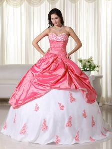 Watermelon and White Sweetheart Taffeta Quinceanera Dress with Appliques