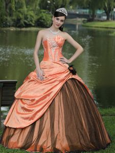 Orange Taffeta Custom Made Quinceanera Gown Dress with Flower in Austin