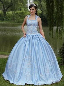 Light Blue Beaded Sweet Sixteen Quinceanera Dresses in Myrtle Beach SC