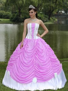 Strapless Custom Quinceanera Dress in Rose Pink with Pick-ups in Gettysburg