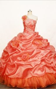 One Shoulder Orange Red Pick-ups Quinceanera Dress in Casa Grande Peru
