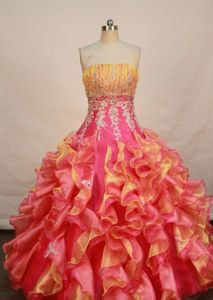 Colorful Strapless Ruffled Layers Quinceanera Dress in Cartago Colombia