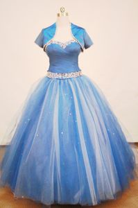 Riohacha Colombia Strap Tulle Blue Ruched and Beaded Quinceanera Dress