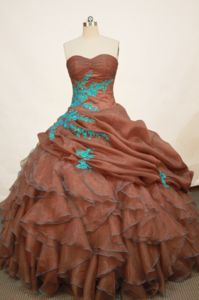 Brown Sweetheart Applique and Ruffle Quinceanera Dress in Lambayeque Peru